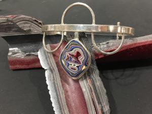 Fordite Bracelet with sterling silver by Julie Sanford
