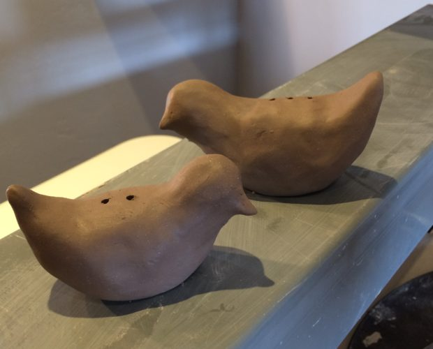Hand built bird salt and pepper shakers