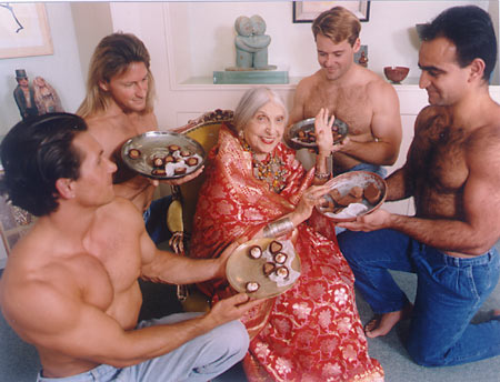 Beatrice Wood with young men and chocolate