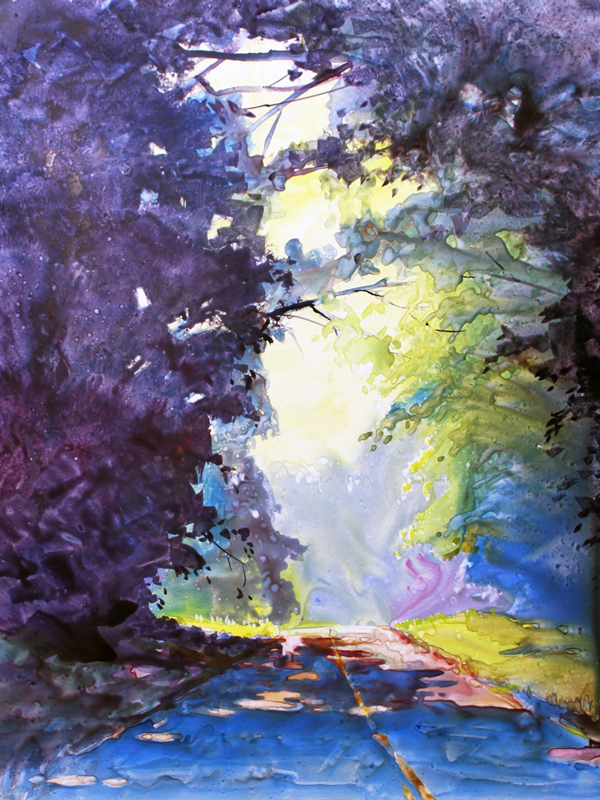 Watercolor landscape painting by Mark Mehaffey