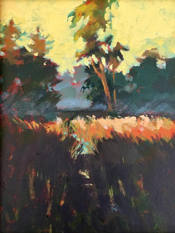 mystic wetlands plein aire painting by mark mehaffey