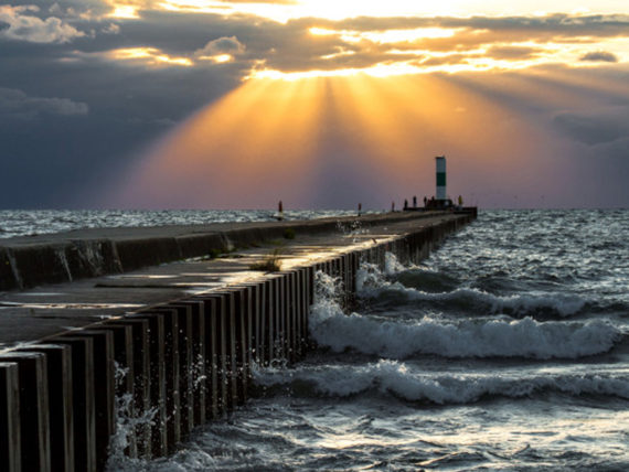 Sun rays on the North Pier by Bob Walma