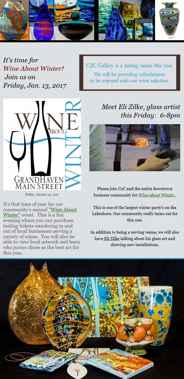 Wine About Winter 2017 at C2C Gallery, Eli Zilke art glass exhibit