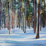 Winter woods painting by michelle courier