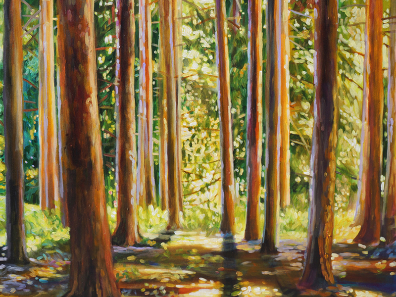 shelter in the woods painting by michelle courier