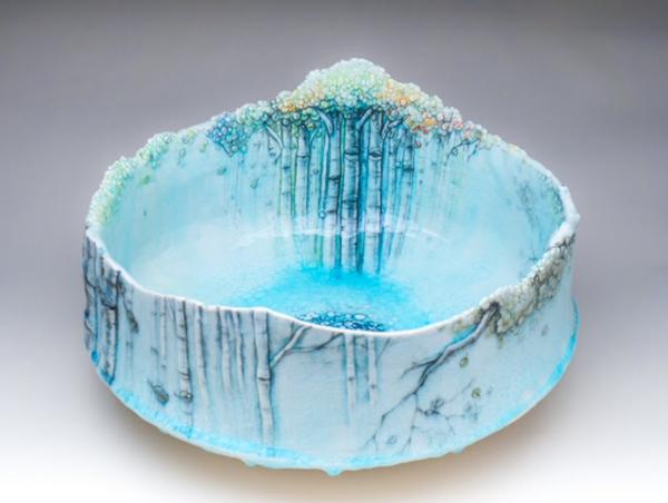 Porcelain painted bowl by Heesoo Lee