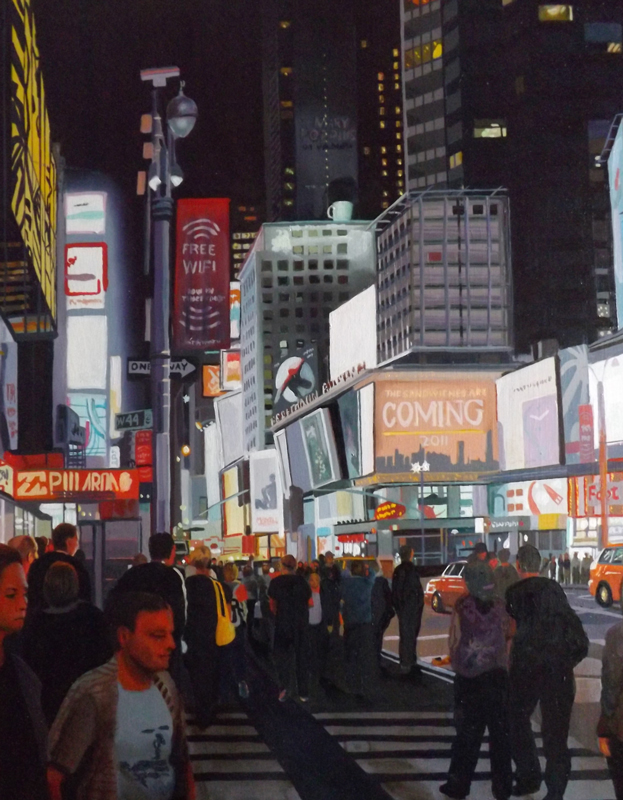 Painting by Jon McDonald times square at night
