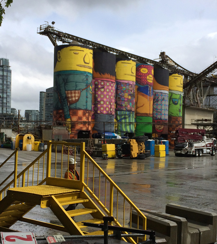 Mural on Silos in Vancouver City, BC