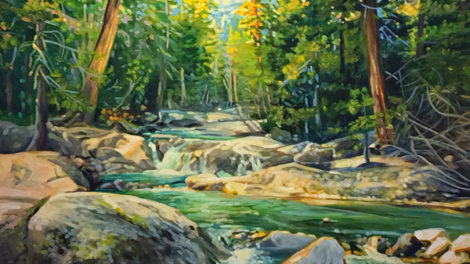 Landscape Painting by Michelle Courier Boulders River Light