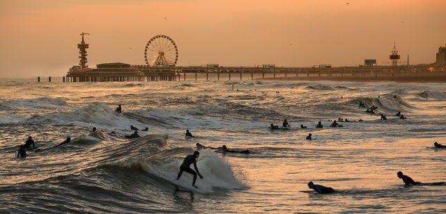 Surfers at Scheveningen, Netherlands