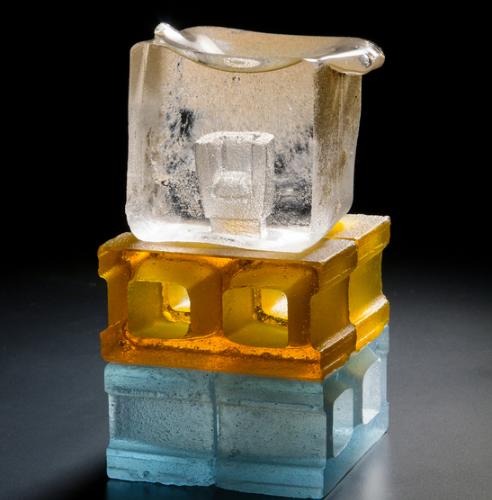 A Good Foundation glass sculpture by Matthew paskiett