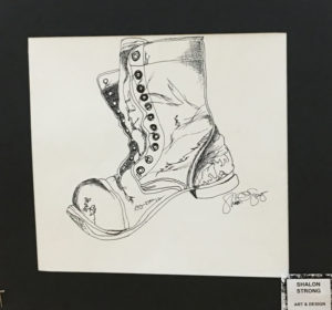 drawing of boot by student