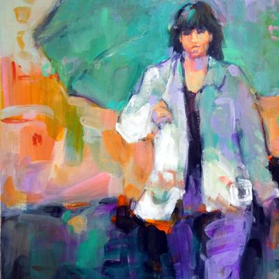 Woman walking in the rain Donna Zagotta watercolor painting