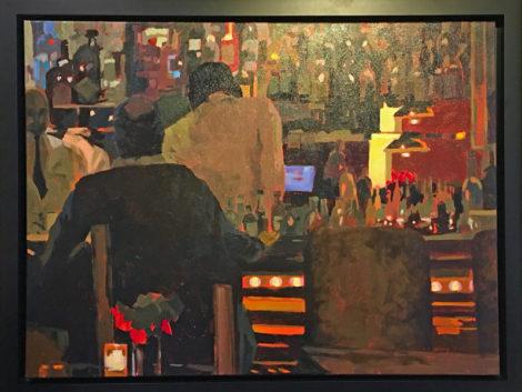 "Acrylic painting by Mark Mehaffey ""it's late"" a bar scene"