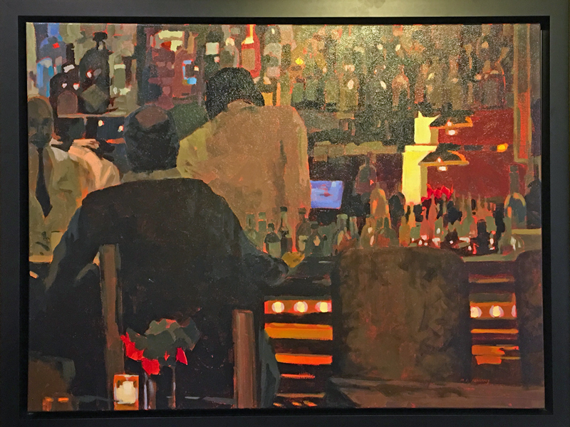"Acrylic painting by Mark Mehaffey ""it's late"" a bar scene"