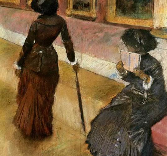 """Mary Cassatt at the Louvre"" 1880 pastel by Edgar Degas"