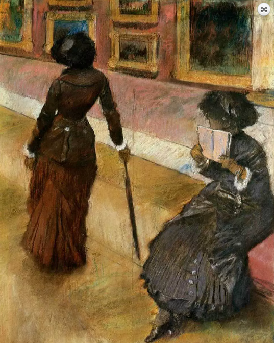"""Mary Cassatt at the Louvre"" 1880 pastel by Edgar Degas"