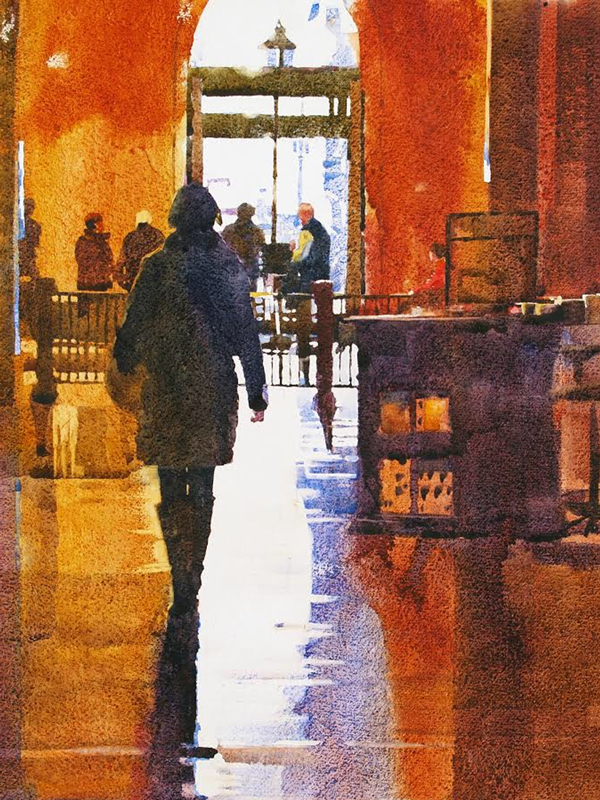 Into the Light watercolor painting by Mark Mehaffey