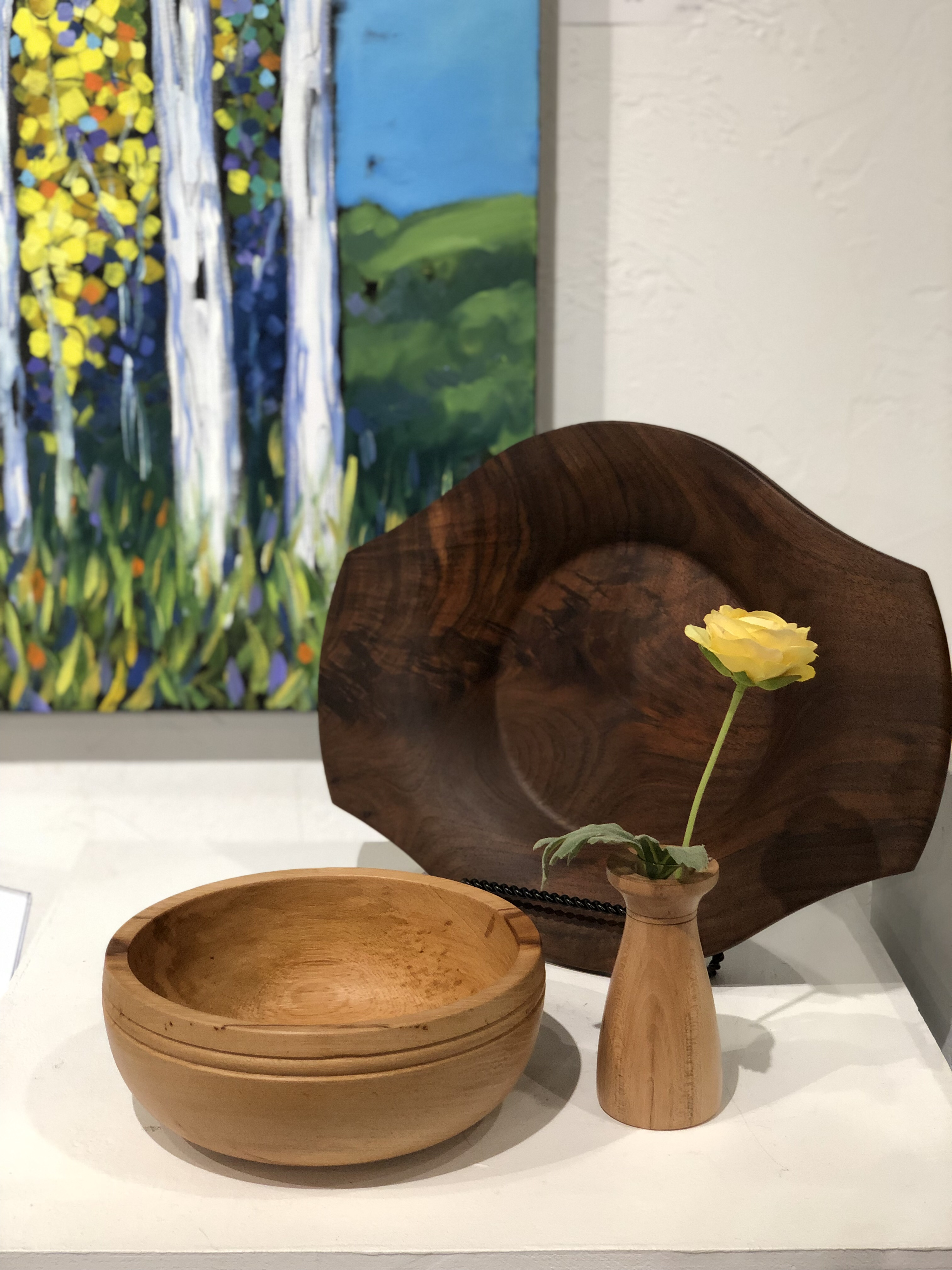 Wood serving bowls and bud vases